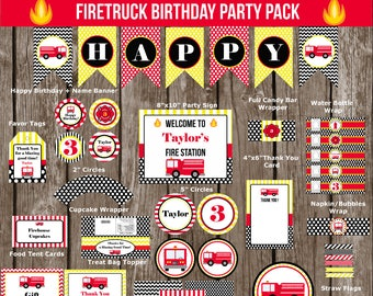 Firetruck, Firefighter, Fireman Birthday Party Pack-Digital