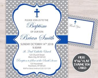Hydrangea Baptism Invite Blue Boy Christening Floral Etsy
