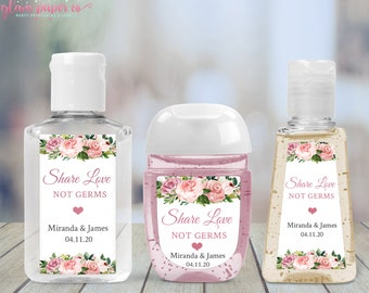 Baby Shower Bridal Shower Favor Sticker Floral- Set of 40 Custom Hand Sanitizer Label Personalized wedding sanitizer bottle stickers