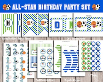All-Star, Sports Birthday Party Pack-Digital