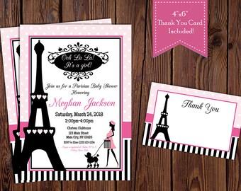 Paris Baby Shower Invitation, Paris Themed Baby Shower Invitation, Girl Baby Shower Invitation-Digital