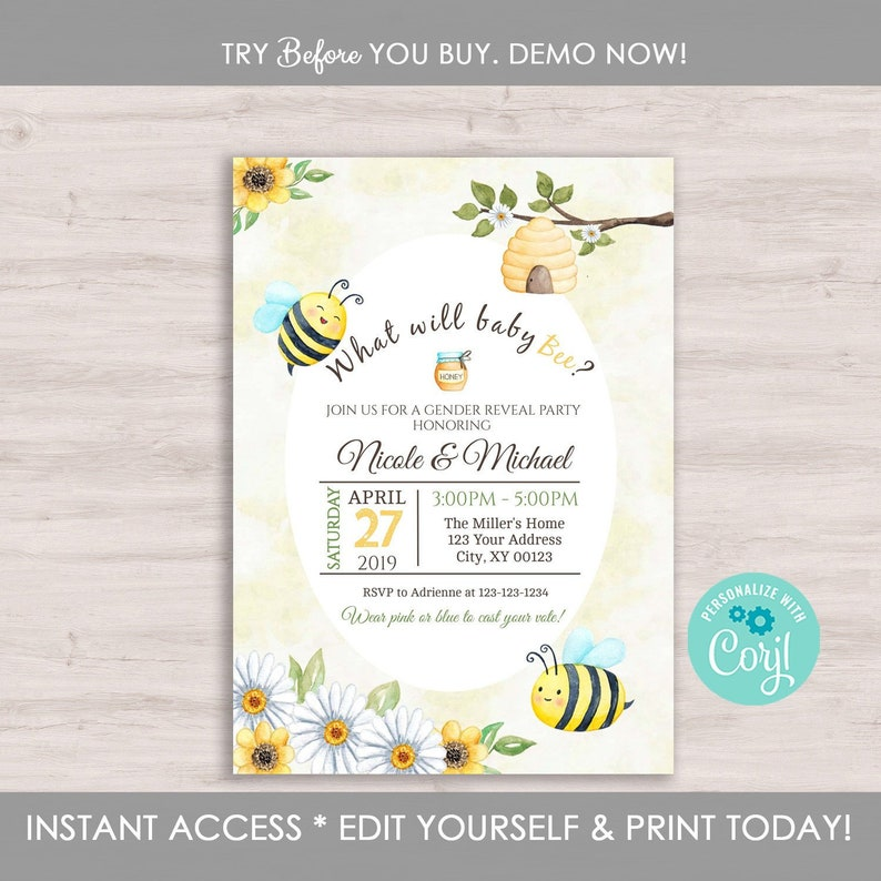 Gender Reveal Invitation Template Bee Party Bumble What Will It Editable