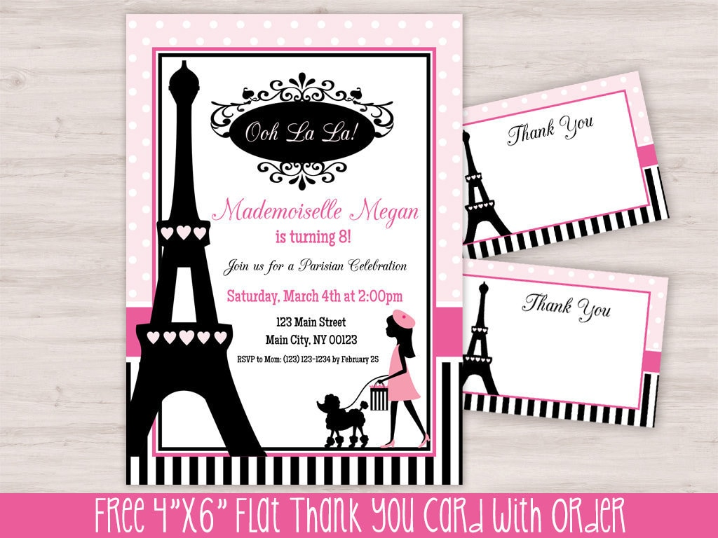 Paris Themed Birthday Party Invitations | www.topsimages.com