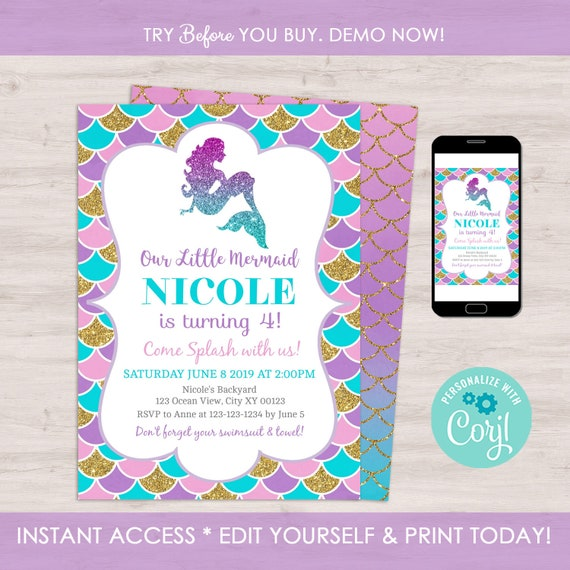 Mermaid Birthday Invitation Template Editable Little Party Under The Sea First
