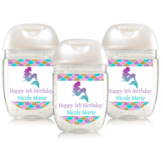Tropical Summer Birthday Hand Sanitizer Labels