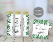 Tropical Wedding Lip Balm Label, Personalized Greenery Favor Label, Party Favor Label, Bachelorette Party Favor Labels, Chapstick Labels