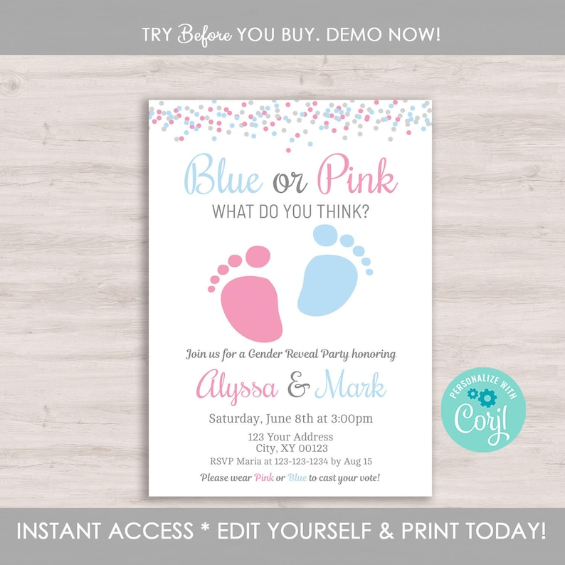 Gender Reveal Invitation Template Editable Party Baby Footprint Pitter Patter