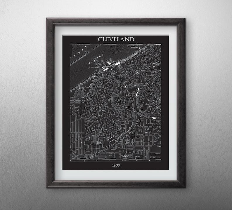 Cleveland City  Map  Digital File image 0