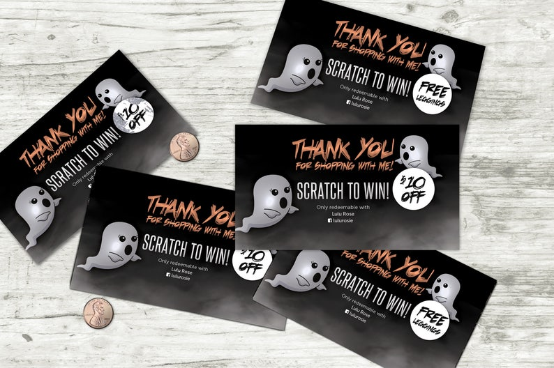 Halloween Scratch Off Card  5 cards fully customizable image 0