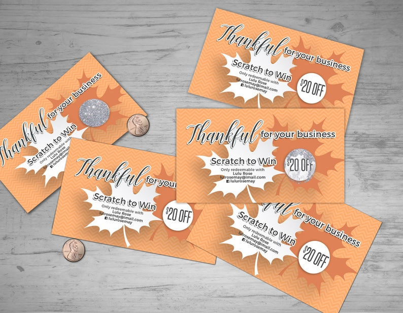 Thanksgiving Scratch Off Card  5 cards fully customize image 0