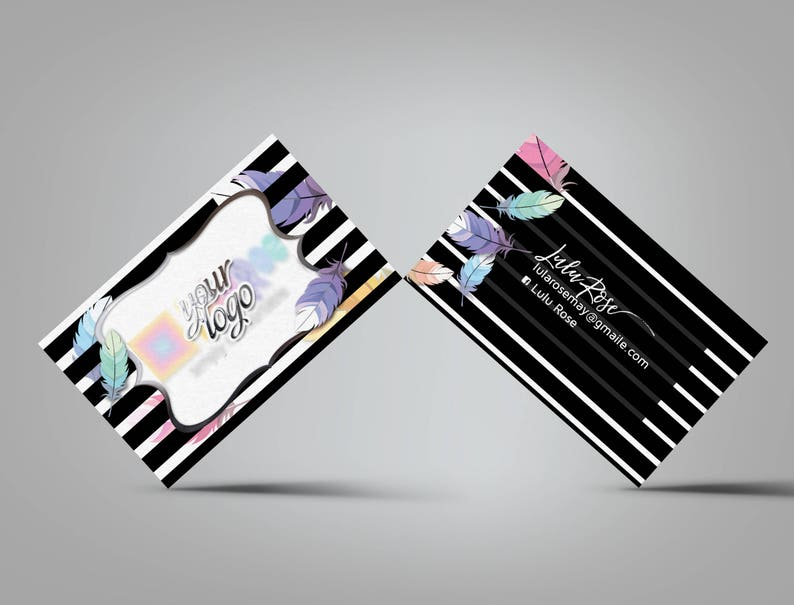 Custom Business Card  black white stripes with feathers image 0