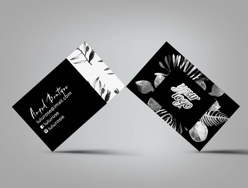 Leaves Black and White Business Card image 0