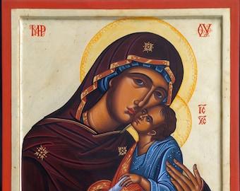 The Virgin Eleousa, Jesus Christ, hand painted, Greek icon, Russian icon, Byzantine icon, religious gift, orthodox icon, Christmas gift,
