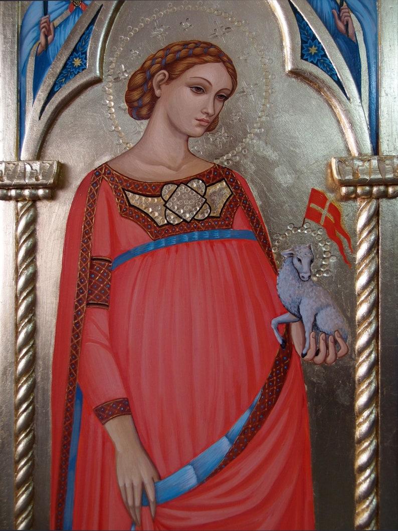 Saint Agnes and angels Catholic altar, Catholic painting, Gothic  tabernacle, religious carving, religious painting, unique ,custom rare icon