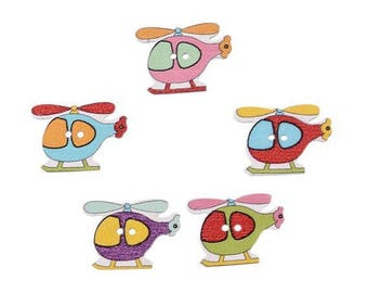 Set of 5 baby themed 2-hole wooden buttons: airplane / helicopter mix color
