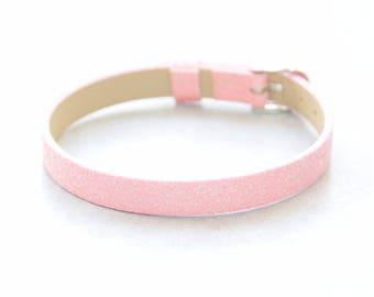Glittery leather bracelet 1 pink customize