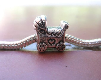 Charms / Perle pram European antique silver plated child