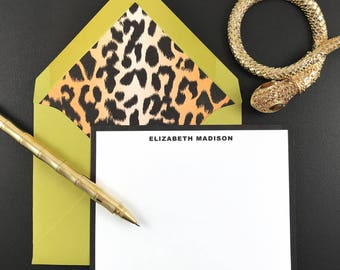 LEOPARD PRINT, Animal Print, Personalized Stationary, Custom Stationery, Thank You Cards, 10 Note Cards & Lined Envelopes