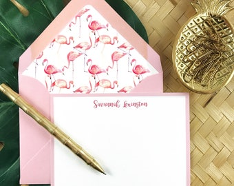 PINK FLAMINGO, Tropical Stationery, Personalized Stationary, Custom Stationery, Thank You Cards, 10 Note Cards & Lined Envelopes
