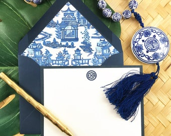 CHINOISERIE CHIC, Blue and White Stationery, Personalized Stationary, Custom Stationery, Thank You Cards, 10 Note Cards & Lined Envelopes