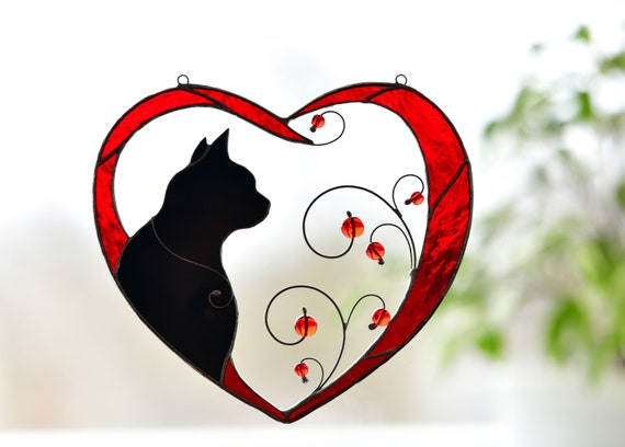 Stained Glass Cat in Heart
