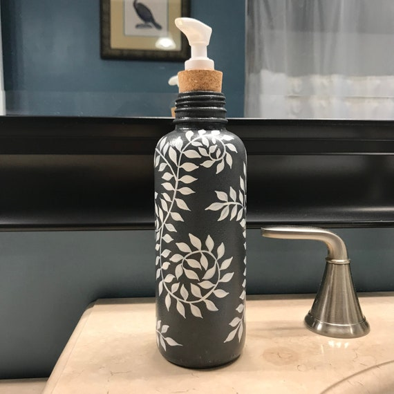 Large Glass Soap Dispenser, Hand Painted Fiddle Head Fern Design in Cream and Green