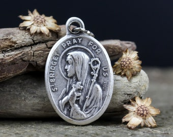 Patron of Widows Sterling Silver St Bridget of Sweden Medal Antique Reproduction