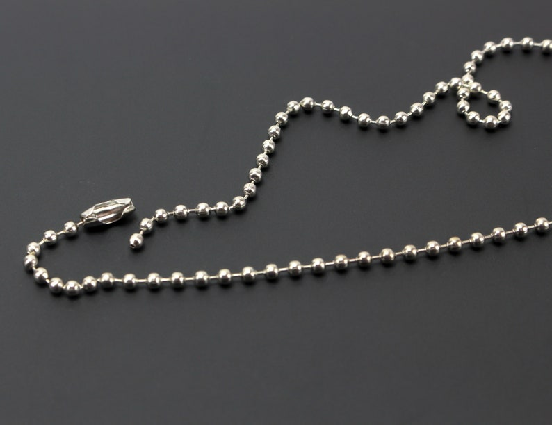 """2.4mm Ball Chains 18/"""" 50 Silver Ball Chain Necklace"""
