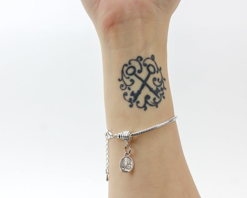 Silver Plated European Style Snake Chain Charm Bracelet with Screw-off Lobster Claw Clasp and Extender Chain