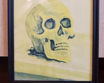skull -yellow blue glaze