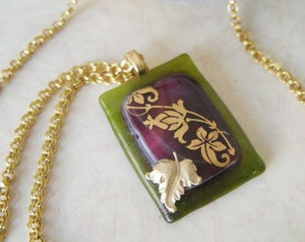 RENAISSANCE Fused Glass and Brass Pendant Necklace