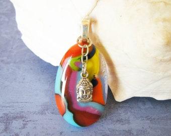 BUDDHA Charm Pendant - Multicolor Handmade Fused Glass