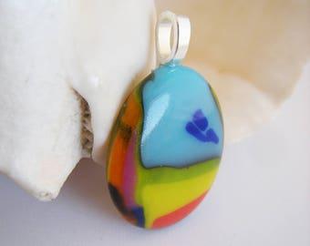 Chakra Colors Fused Glass Pendant