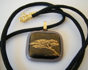 Golden Tree Fused Glass Necklace or Pendant