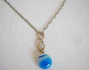 BABY BOY -  Fused Glass Infinity Necklace - Wedding - New Mom