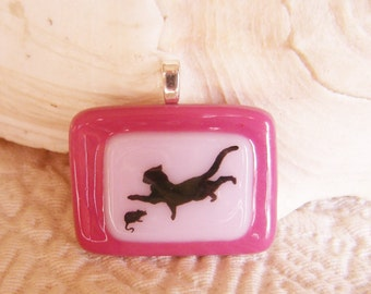 Cat and Mouse Fused Glass Pendant
