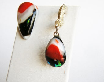 RED ACCENT Asymmetrical Fused Glass Earrings