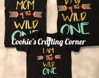 Mom Dad Of The Wild One And I Am Shirts Matching Birthday Years Old Parents Baby