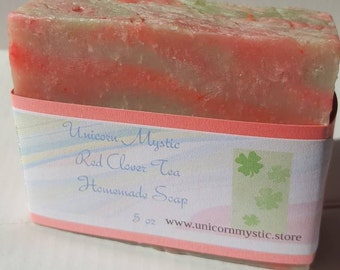 Red Clover Tea Vegan Cold Processed Homemade Bar Soap Best Selling!