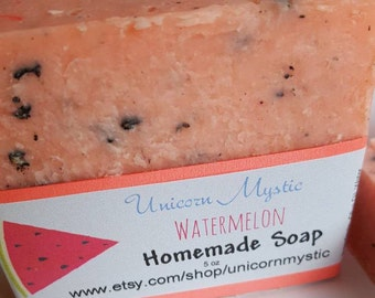 Watermelon  Cold Processed Homemade Bar Soap