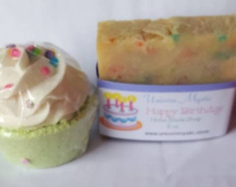 Happy Birthday gift set! Happy Birthday Cold Processed Vegan Homemade Bar Soap and Cupcake Bath Bomb!