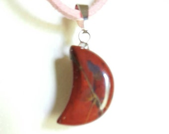 Beautiful Moon Genuine Red Jasper Pendant Necklace. Wiccan, Pagan