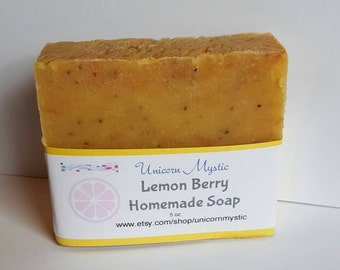 Lemon Berry Cold Processed Homemade Bar Soap