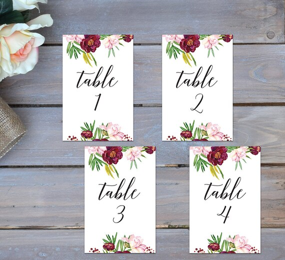 Prime Burgundy Table Numbers Printable Table Numbers Wedding Table Numbers 1 10 Burgundy Flower Table Numbers Watercolor Table Numbers Download Free Architecture Designs Rallybritishbridgeorg