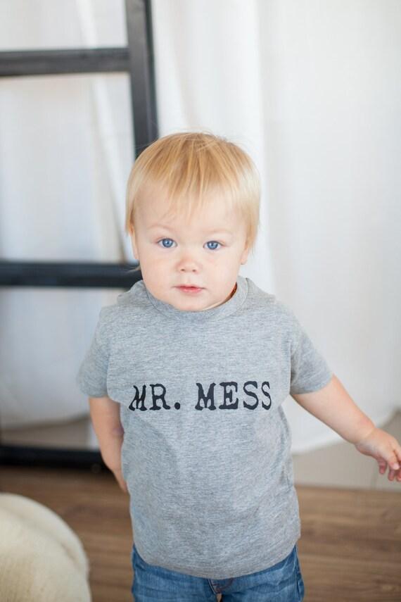 Monochrome bébé drôle enfant en bas âge chemise Mr Mess bambin  c95a075da13