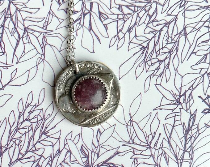 Lepidolite + Buffalo Medicine Necklace // Crystal // Sterling Silver // Handmade // Buffalo Coin