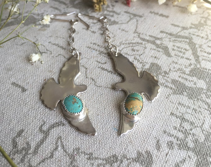 SALE Luyu, Wild Dove Sterling Silver Drop Earrings, Dangle Earrings, Turquoise