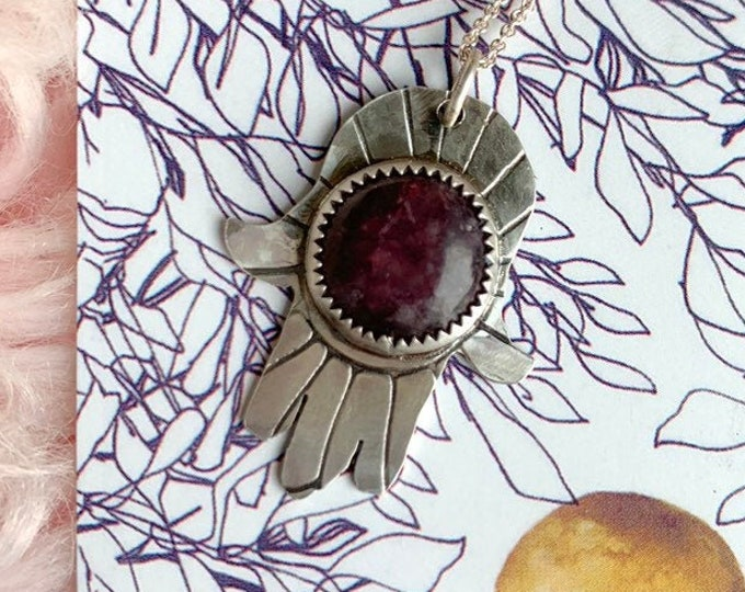 Hamsa + Lepidolite Amulet // Sterling Silver // Handcrafted Jewelry