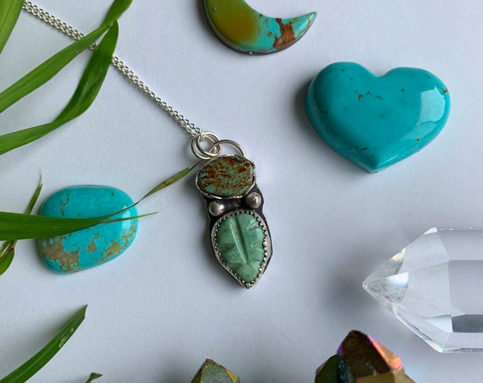 Leafy, Handcrafted Turquoise Pendant Necklace