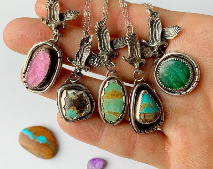 Eagle Goddess // Gemstone Sterling Silver Necklace
